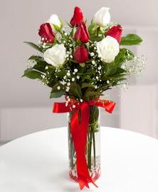 5 kırmızı 4 beyaz gül vazoda  Çankırı çiçek , çiçekçi , çiçekçilik