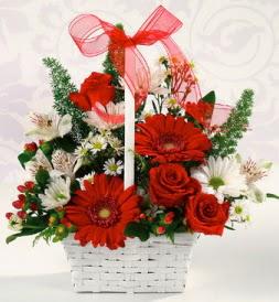 Karışık rengarenk mevsim çiçek sepeti  Çankırı çiçek yolla