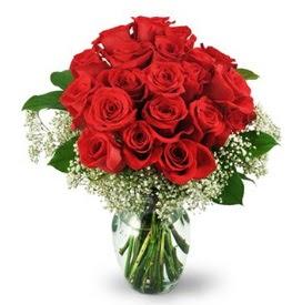 25 adet kırmızı gül cam vazoda  Çankırı kaliteli taze ve ucuz çiçekler