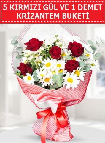 5 adet kırmızı gül ve krizantem buketi  Çankırı çiçek mağazası , çiçekçi adresleri