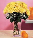 Çankırı İnternetten çiçek siparişi  9 adet sari güllerden cam yada mika vazo