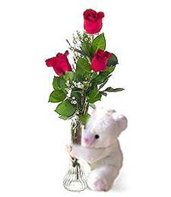 oyuncak ve 3 adet gül  Çankırı çiçek yolla , çiçek gönder , çiçekçi