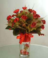 yapay güllerden vazo  9 gül  Çankırı ucuz çiçek gönder