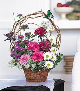 Çankırı çiçek , çiçekçi , çiçekçilik  sepet içerisinde karanfil gerbera ve kir çiçekleri