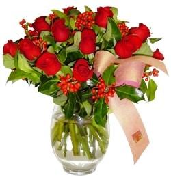 Çankırı online çiçekçi , çiçek siparişi  11 adet kirmizi gül  cam aranjman halinde