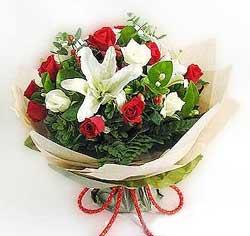 güller ve kazablanklardan görsel bir buket  Çankırı İnternetten çiçek siparişi