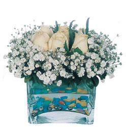 Çankırı online çiçekçi , çiçek siparişi  mika yada cam içerisinde 7 adet beyaz gül
