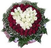 Çankırı internetten çiçek siparişi  27 adet kirmizi ve beyaz gül sepet içinde