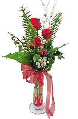 Çiçek gönderin cam vazoda 3 gül çiçekleri  Çankırı çiçek yolla , çiçek gönder , çiçekçi