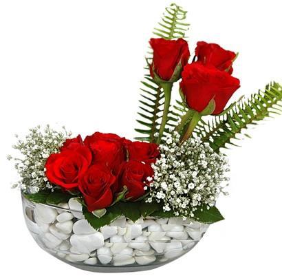 cam içerisinde 9 adet kirmizi gül  Çankırı çiçek gönderme