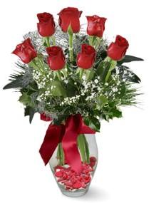7 adet vazoda gül  Çankırı İnternetten çiçek siparişi  kirmizi gül