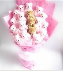 17 adet pelus ayicik buketi  Çankırı 14 şubat sevgililer günü çiçek
