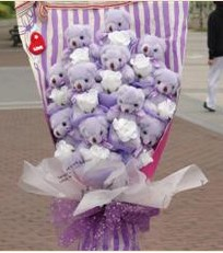 11 adet pelus ayicik buketi  Çankırı anneler günü çiçek yolla