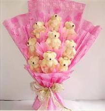 9 adet pelus ayicik buketi  Çankırı çiçekçi mağazası
