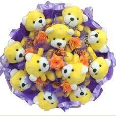 11 adet pelus ayicik buketi  Çankırı internetten çiçek siparişi