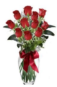 11 adet kirmizi gül vazo mika vazo içinde  Çankırı hediye çiçek yolla