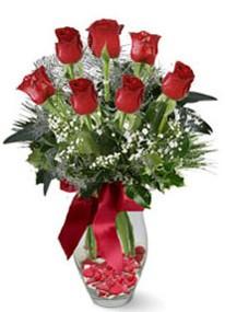 Çankırı çiçek yolla  7 adet kirmizi gül cam vazo yada mika vazoda
