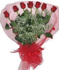 7 adet kipkirmizi gülden görsel buket  Çankırı internetten çiçek siparişi