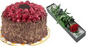 1 adet yas pasta ve 1 adet kutu gül  Çankırı ucuz çiçek gönder