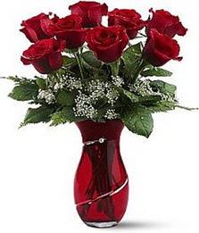 Vazo içinde 8 adet kirmizilar içinde güller  Çankırı çiçek yolla