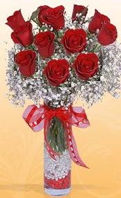 10 adet kirmizi gülden vazo tanzimi  Çankırı çiçek yolla , çiçek gönder , çiçekçi
