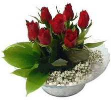 Çankırı İnternetten çiçek siparişi  cam yada mika içerisinde 5 adet kirmizi gül