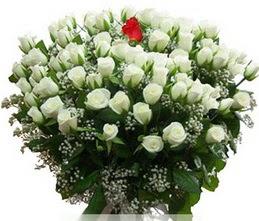 Çankırı İnternetten çiçek siparişi  100 adet beyaz 1 adet kirmizi gül buketi