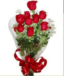 Çankırı ucuz çiçek gönder  10 adet kırmızı gülden görsel buket