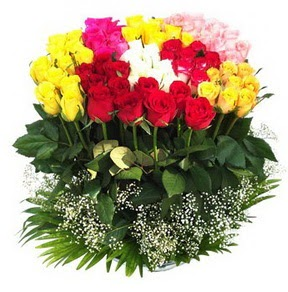 Çankırı internetten çiçek siparişi  51 adet renkli güllerden aranjman tanzimi