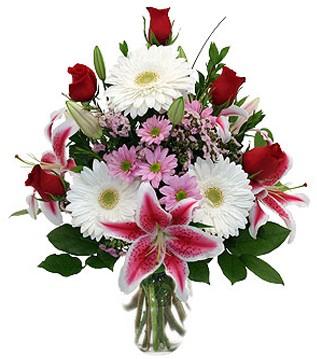 Çankırı internetten çiçek siparişi  1 dal kazablanka 5 gül ve kırçiçeği vazosu