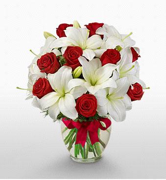 Çankırı yurtiçi ve yurtdışı çiçek siparişi  1 dal kazablanka 11 adet kırmızı gül vazosu