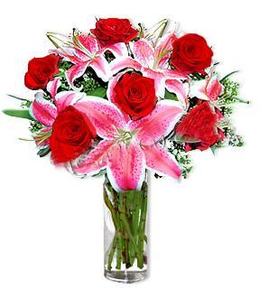 Çankırı hediye sevgilime hediye çiçek  1 dal cazablanca ve 6 kırmızı gül çiçeği