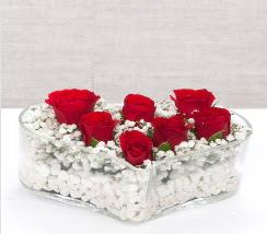 kalp içerisinde 7 adet kırmızı gül  Çankırı çiçek gönderme