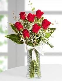 Cam vazoda 7 adet kırmızı gül  Çankırı kaliteli taze ve ucuz çiçekler