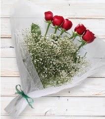 5 kırmızı gülden sade buket  Çankırı hediye sevgilime hediye çiçek