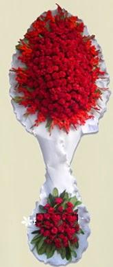 Çift katlı kıpkırmızı düğün açılış çiçeği  Çankırı çiçekçi mağazası