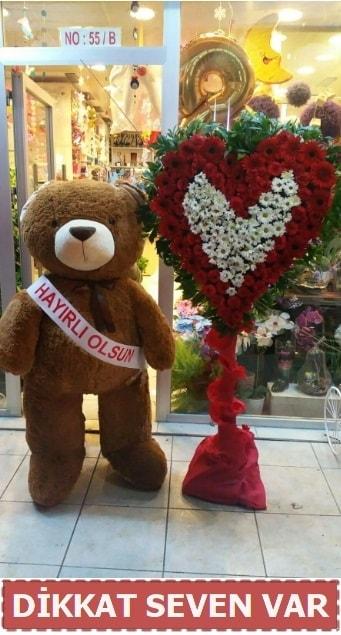 1.5 Metre peluş ayı ve Kalp  Çankırı anneler günü çiçek yolla
