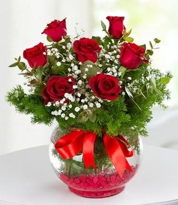 fanus Vazoda 7 Gül  Çankırı kaliteli taze ve ucuz çiçekler