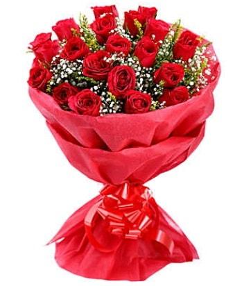 21 adet kırmızı gülden modern buket  Çankırı çiçek online çiçek siparişi