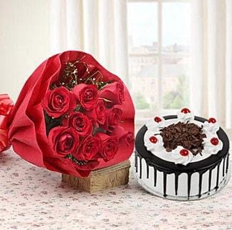12 adet kırmızı gül 4 kişilik yaş pasta  Çankırı kaliteli taze ve ucuz çiçekler