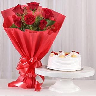 6 Kırmızı gül ve 4 kişilik yaş pasta  Çankırı kaliteli taze ve ucuz çiçekler