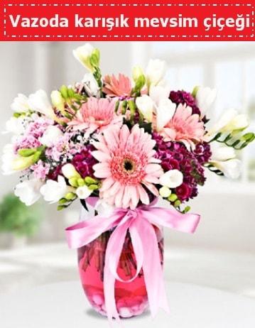 Vazoda karışık mevsim çiçeği  Çankırı kaliteli taze ve ucuz çiçekler