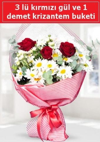 3 adet kırmızı gül ve krizantem buketi  Çankırı anneler günü çiçek yolla