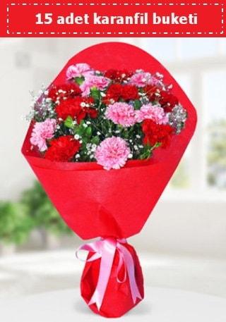 15 adet karanfilden hazırlanmış buket  Çankırı çiçek , çiçekçi , çiçekçilik
