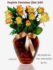 Çankırı İnternetten çiçek siparişi  mika yada Cam vazoda 12 adet sari gül